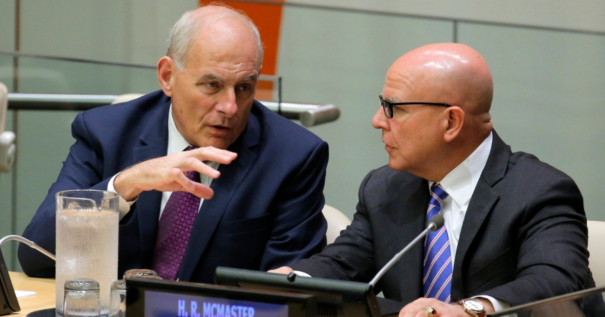 White House Chief of Staff John Kelly (left) speaks with U.S. National Security Advisor H.R. McMaster at U.N. headquarters in New York City, September 18, 2017