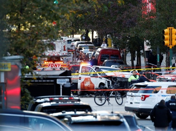 First responders work at a crime scene in lower Manhattan, where a Home Depot truck was used to strike people on a bike path, New York City, October 31, 2017