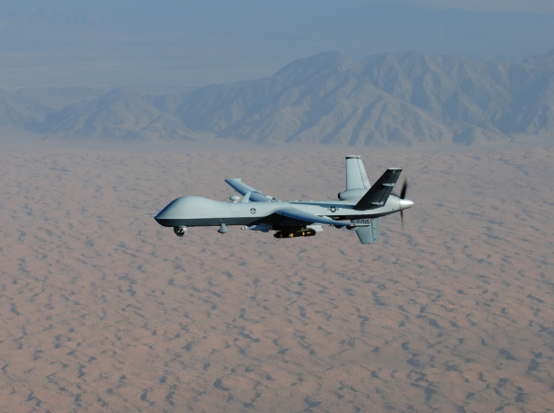 An MQ-9 Reaper flies a combat mission over southern Afghanistan