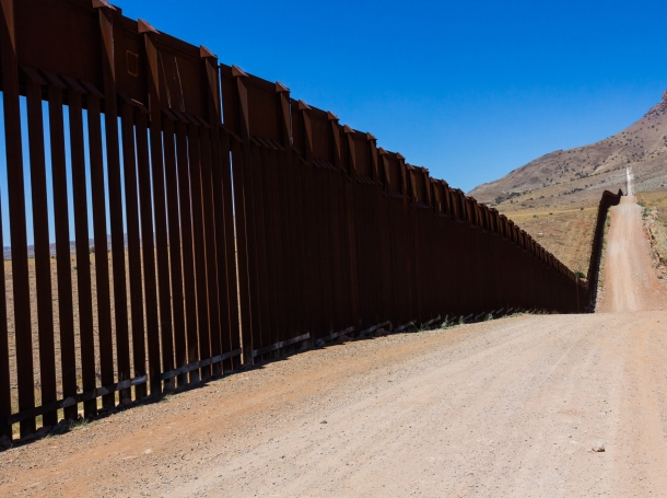 The border fence between United States and Mexico