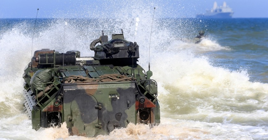 U.S. Navy amphibious assault vehicles enter the sea during BALTOPS, an annual NATO exercise, near Ventspils, Latvia, June 6, 2017