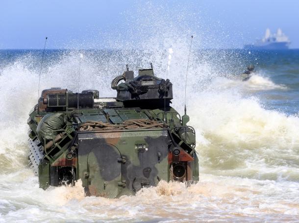 U.S. Navy amphibious assault vehicles enter the sea during BALTOPS, an annual NATO exercise, near Ventspils, Latvia, June 6, 2017