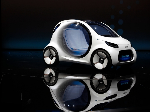 The new Smart concept autonomous car Vision EQ fortwo model is presented during the Frankfurt Motor Show (IAA) in Frankfurt, Germany, September 12, 2017