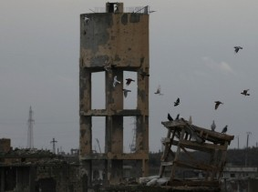 Birds fly above damaged buildings in a rebel-held area in Deraa, Syria, January 25, 2018