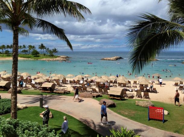 Tourists and locals enjoy Ko'Olina beach on the island of Oahu, Hawaii, July, 29, 2013