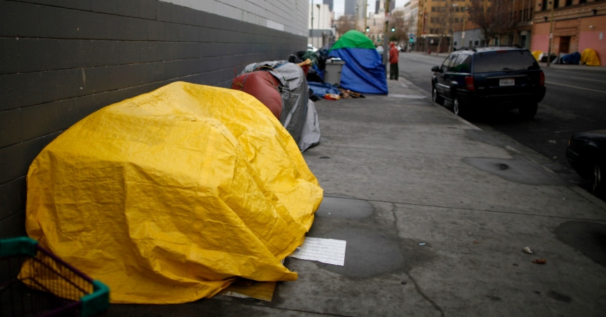 Tents line the sidewalk on downtown Los Angeles' Skid Row, March 7, 2013