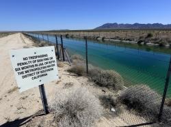 The Colorado Aqueduct near the Iron Mountain Pumping Plant in Earp, California, April 16, 2015
