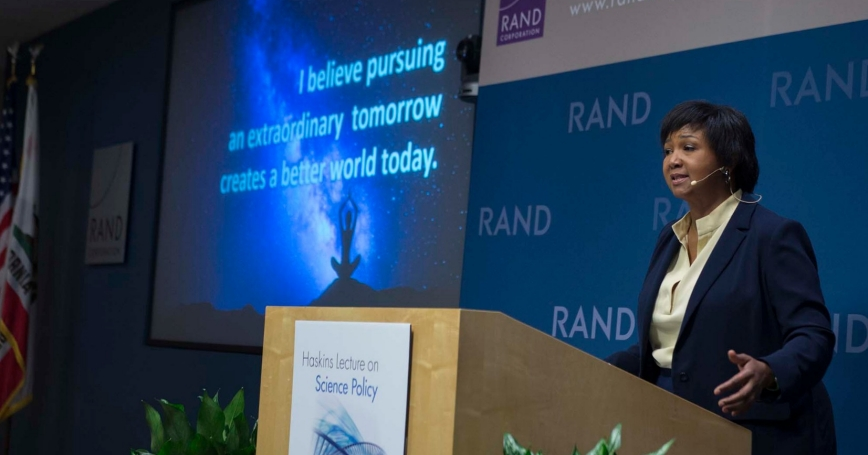 Dr. Mae Jemison delivers the Haskins Lecture on Science Policy at RAND's Santa Monica Headquarters on January 23, 2018