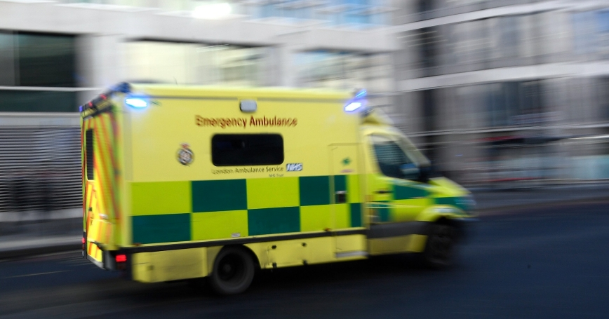 A National Health Service London ambulance drives in London, Britain, January 24, 2017