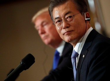 South Korea's President Moon Jae-in and U.S. President Donald Trump hold a news conference in Seoul, November 7, 2017