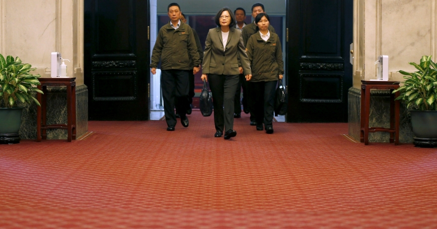 Taiwan President Tsai Ing-wen arrives at the Presidential Office in Taipei, Taiwan, April 27, 2017