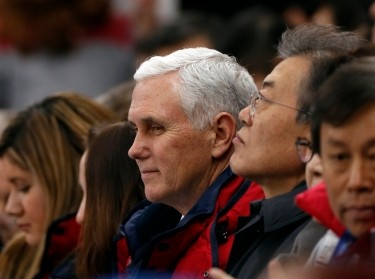 U.S. Vice President Mike Pence and South Korea's President Moon Jae-in attend short track speed skating events in Pyeongchang, February 10, 2018