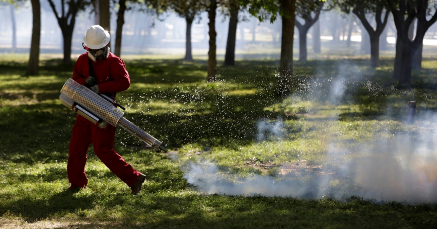 A health ministry worker fumigates a public park during a campaign against dengue, chikungunya and Zika in Ciudad Juarez, Mexico April 4, 2017