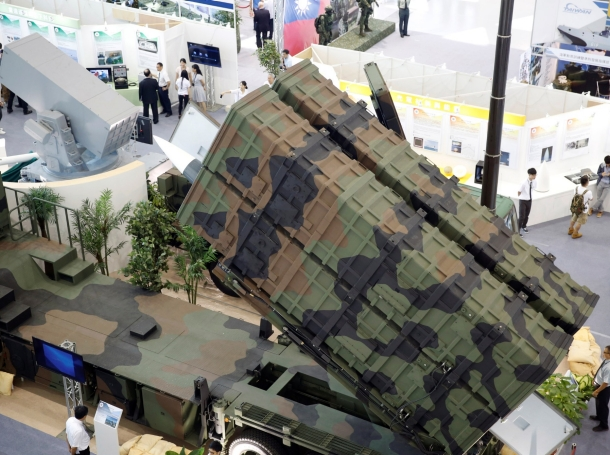 A model of Taiwanese domestically manufactured Hsiung Feng III Anti-Ship Missile is seen inside the missile launching vehicle during International Maritime and Defense Industry Exposition in Kaohsiung, Taiwan September 16, 2016