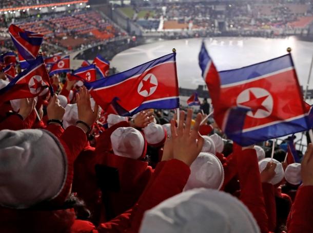 North Korean cheerleaders await the opening ceremony of the Winter Olympics, Pyeongchang, South Korea, February 9, 2018