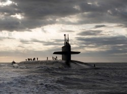 The Ohio-class ballistic missile submarine USS Rhode Island (SSBN 740) returns to Naval Submarine Base Kings Bay after three months at sea