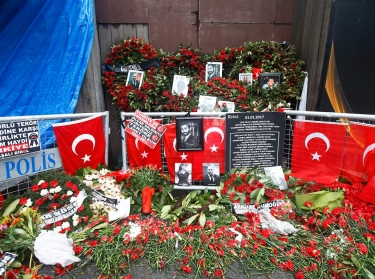 Flowers and pictures of victims of the Islamic State's assault on Istanbul's Reina nightclub are placed near its entrance in Istanbul, Turkey, January 17, 2017