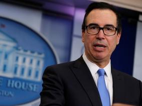 U.S. Treasury Secretary Steven Mnuchin announces North Korea-related sanctions, Washington, D.C., February 23, 2018