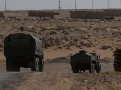 Russian trucks seen on the road heading to Deir al-Zor in Kabakeb near Deir al-Zor, Syria September 21, 2017