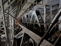 Steel beams on the draw span, which needs replacement, are shown on the Arlington Memorial Bridge in Washington, U.S., June 20, 2016