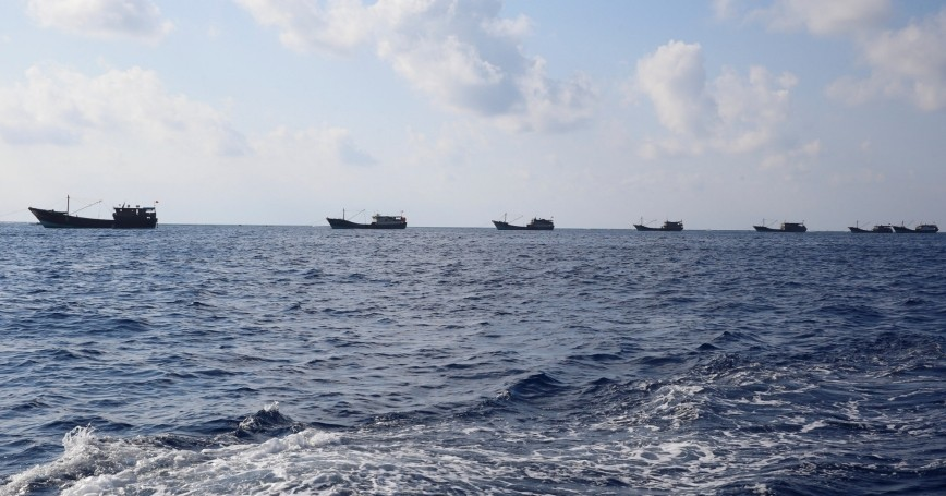 Chinese boats fish at the disputed Scarborough Shoal, April 5, 2017