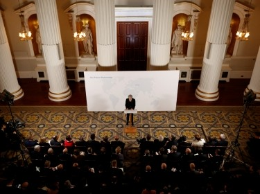 Britain's Prime Minister Theresa May makes a speech about her vision for Brexit at Mansion House in London, Britain, March 2, 2018