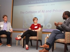 William Welser IV, Rebecca Balebako, and Osonde Osoba in a RAND panel discussion in Pittsburgh, Pennsylvania, February 20, 2018