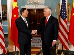 U.S. Secretary of State Rex Tillerson (R) meets with Chinese State Councilor Yang Jiechi  at the State Department in Washington, U.S.,  February 8, 2018