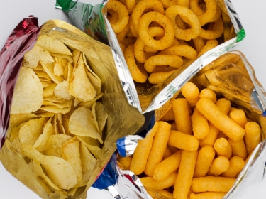 Packages of chips and snacks