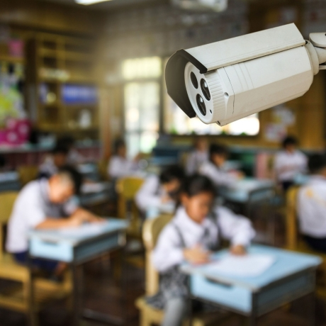 Security camera in a classroom