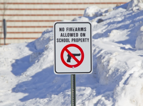 Sign that reads No Firearms Allowed on School Property