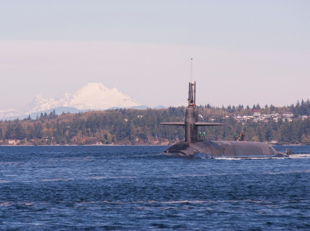 The Ohio-class ballistic-missile submarine USS Louisiana transits the Hood Canal as it returns to its homeport following a strategic deterrent patrol