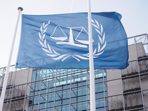 The flag outside the International Criminal Court in The Hague, Netherlands