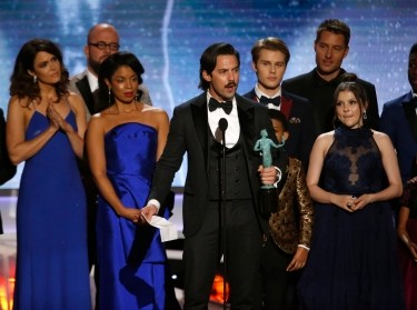 Milo Ventimiglia and the rest of the cast receive the award for Outstanding Performance by an Ensemble in a Drama Series for This Is Us at the Screen Actors Guild Awards, January 21, 2018