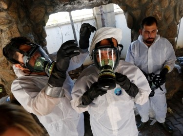 Syrian medical staff take part in a training exercise on how to treat victims of chemical weapons attacks, Gaziantep, Turkey, July 20, 2017