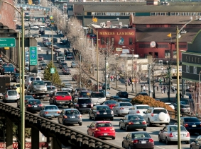 Seattle viaduct and waterfront at rush hour as commuters leave the city, Seattle, Washington, March 29, 2013