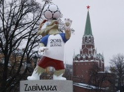 The official mascot for the 2018 FIFA World Cup Russia, Zabivaka, is on display, with a tower of the Kremlin seen in the background, in central Moscow, Russia November 29, 2017