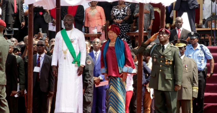 Liberia's former President Ellen Johnson Sirleaf and the new President-elect George Weah at his swearing-in ceremony in Monrovia, Liberia, January 22, 2018