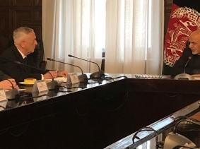 U.S. Defense Secretary James Mattis speaks with Afghan President Ashraf Ghani in Kabul, Afghanistan, March 13, 2018
