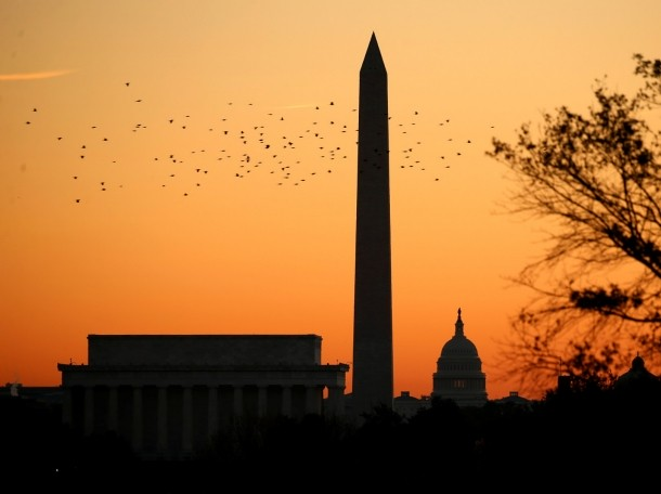 Birds silhouetted over the Lincoln Memorial, the Washington Monument and the U.S. Capitol at sunrise in Washington, D.C., November 8, 2016