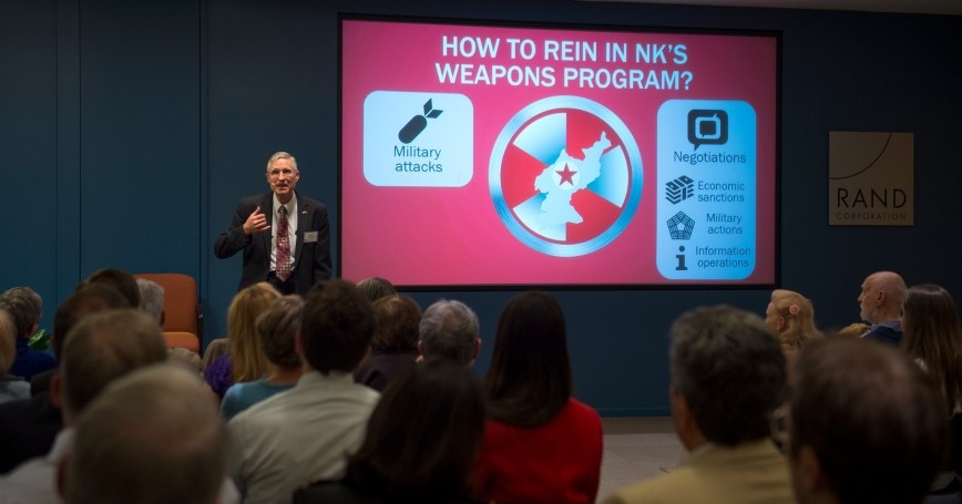 Bruce Bennett discusses North Korea at a March event at RAND's Santa Monica headquarters