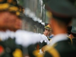 Honour guards at the Great Hall of the People in Beijing, China, July 4, 2016