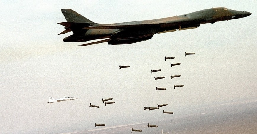 A B-1B Lancer unleashes cluster munitions