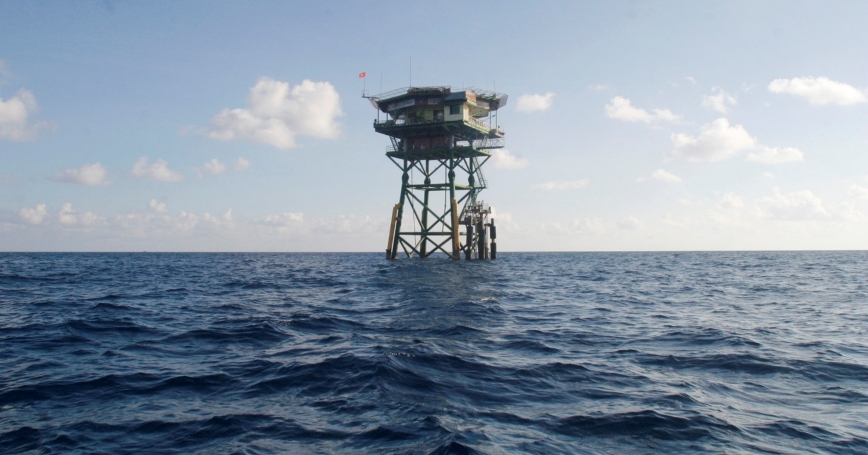 A Vietnamese floating guard station on the Spratly Islands in the South China Sea, April 12, 2010
