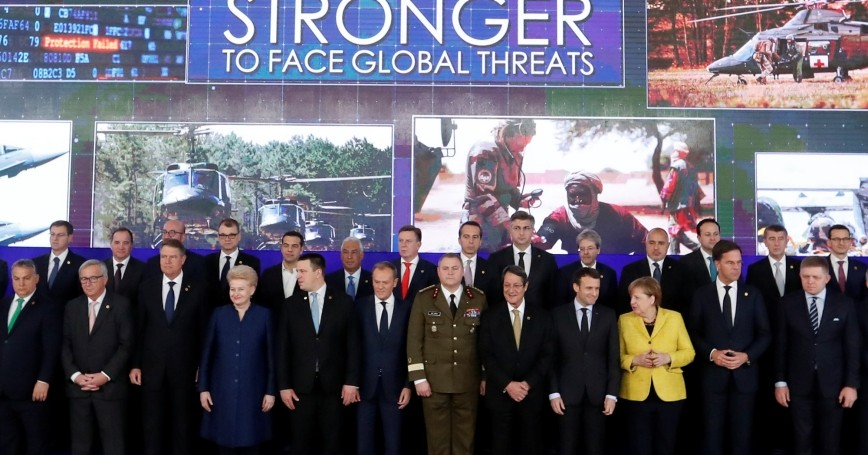 Group photo of EU leaders on the launching of the Permanent Structured Cooperation (PESCO) during a EU summit in Brussels, Belgium, December 14, 2017