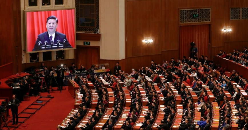Chinese President Xi Jinping delivers his speech at the closing session of the National People's Congress (NPC) at the Great Hall of the People in Beijing, China, March 20, 2018