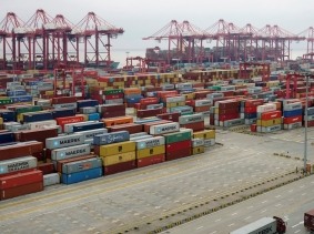 Containers at the Yangshan Deep Water Port in Shanghai, China, April 24, 2018