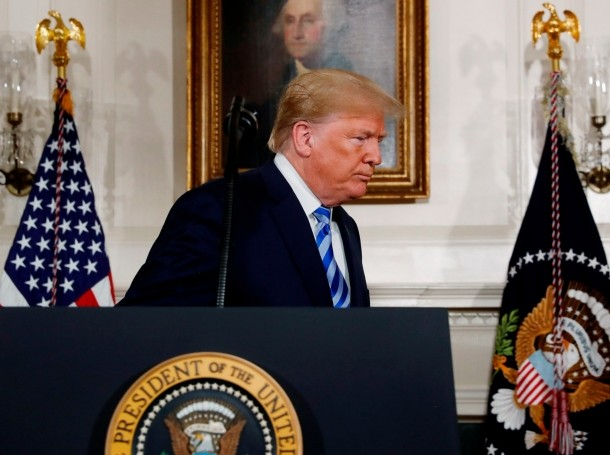 U.S. President Trump just before signing a proclamation declaring his intention to withdraw from the Iran nuclear agreement, May 8, 2018