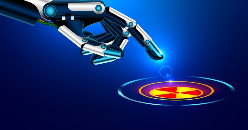 A robot arm moves its index finger toward a nuclear button