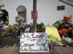 A memorial for victims of a mass shooting sits outside the Emanuel African Methodist Episcopal Church in Charleston, South Carolina, June 22, 2015